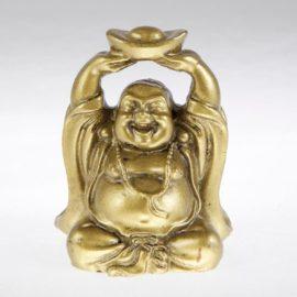 zlatý smejúci sa budha s ingotom, malý