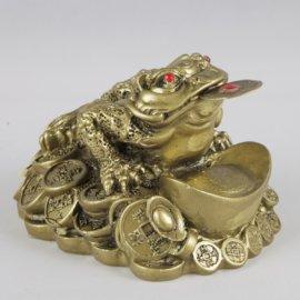 veľká zlatá žaba s mincou na podporu bohatstva