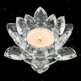 Krištáľový kvet lotos – svietnik, biely