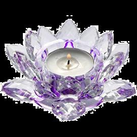 Krištáľový kvet lotos – svietnik, fialový