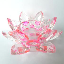 Krištáľový kvet lotos – svietnik, ružový