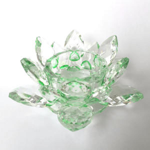 Krištáľový kvet lotos – svietnik, zelený