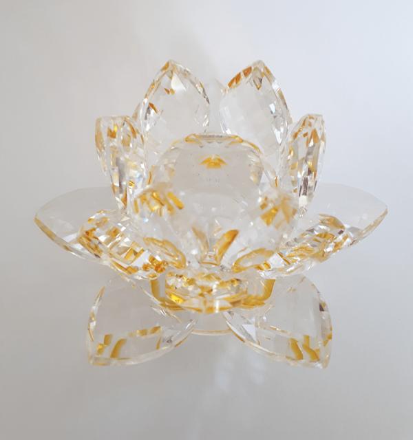 Krištáľový kvet lotos, zlatý